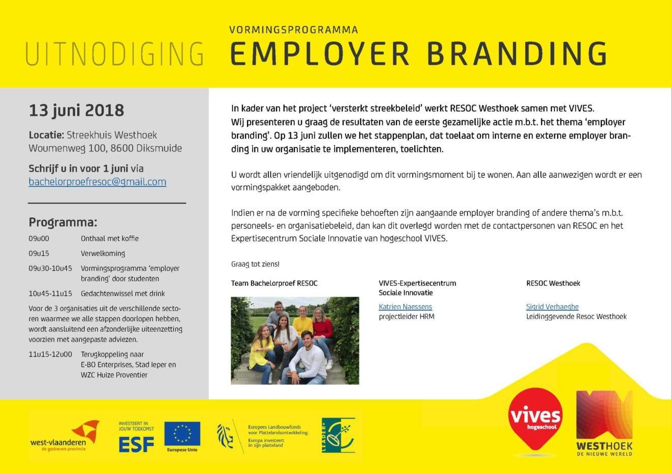 Uitnodiging Vormingsprogramma Employer branding RESOC Westhoek - VIVES